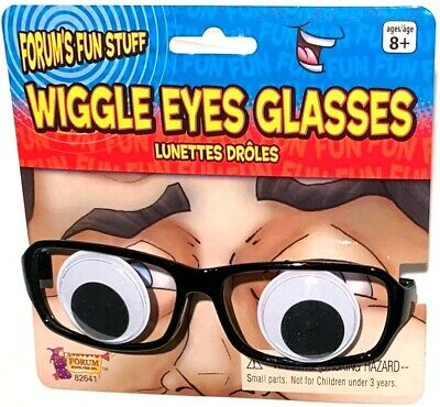 WIGGLE EYES GLASSES Funny Cartoon Googly Moving Eyeballs Black Frames Joke Clown (Wiggle Eyes)