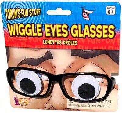 Glasses Funny (WIGGLE EYES GLASSES Funny Cartoon Googly Moving Eyeballs Black Frames Joke)
