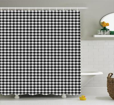 Black and Grey Shower Curtain Fabric Bathroom Decor Set with