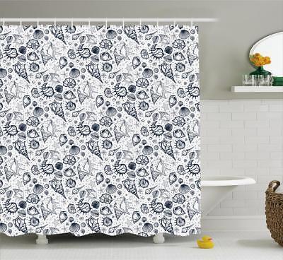 Sea Shells Pattern Shower Curtain Fabric Decor Set with Hook