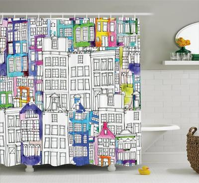 Amsterdam Pattern Shower Curtain Fabric Decor Set with Hooks 4 Sizes