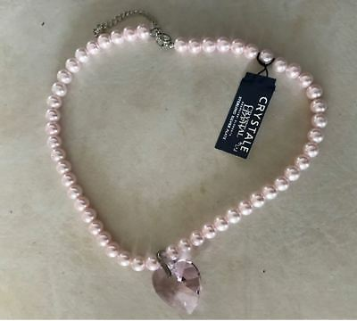 NEW  SWAROVSKI PINK CRYSTAL HEART ON FAUX PEARL NECKLACE DESIGN BY L J 16