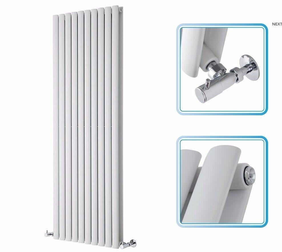 1600mm x 590mm - White Upright Double Panel Designer Radiator - Oval Tubes