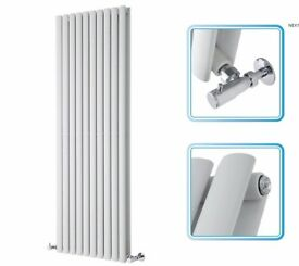1600mm x 590mm - White Upright SINGLE Panel Designer Radiator - Oval Tubes. NEW