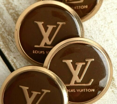 Louis Vuitton STAMPED LV Logo 2pc Buttons 18mm Gold & Brown FREE SHIP!!!