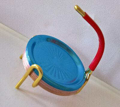 50-60er Rockabilly 12 Metall Untersetzer bunt Ständer Messing mehrfarbig