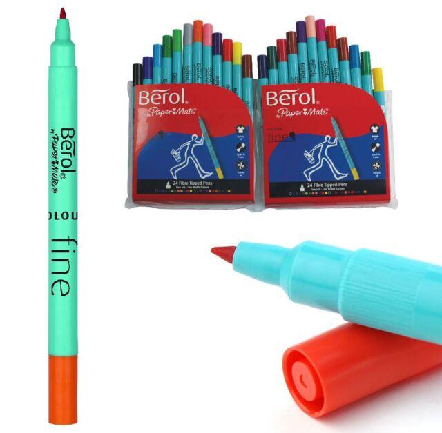 Pack 24 Berol Papermate Colourfine Washable Fine Felt Tip Pens School Colouring