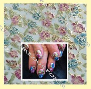 wide BLUE MAUVE ROSE roses flowers nail transfer foil. transparent + gold edging