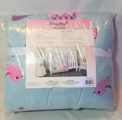 Everyday Kids 3 Piece Girls Crib Bedding Set Princess Castle NEW Pink Purple