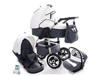 Brand New White Pram Stroller Pushchair 3in1 Travel System Car Seat FREE Accessories
