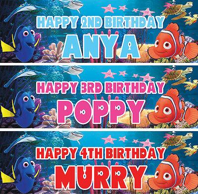 2 x Personalized Finding Nemo Birthday Banner Nursery Children Party decoration  ()