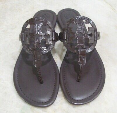 TORY BURCH Miller Sandals Brown Croc Embossed Size 10 New In Box FREE SHIPPING