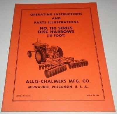 Allis Chalmers 110 Series Disc Harrow Operators Parts Manual Ac Original 10