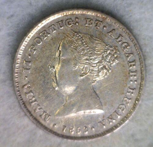 PORTUGAL 100 REIS 1853 UNC SILVER PORTUGUESE COIN (stock# 419)