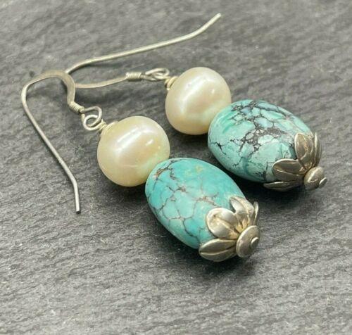 Vintage 925 Sterling Silver Drop Dangle Earrings Pearls Turquoise Stones Flowers