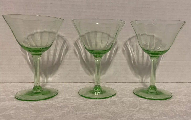"3 Green Depression Glass Champagne Wine Liquor Glasses 5"""