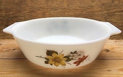 Vintage Large Pyrex Autumn Glory Serving Dish/White/Pyrex/1980's/Retro/Casserole