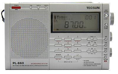 TECSUN PL660 PLL FM/Stereo MW LW SW SSB AIR Band << SILVER COLOR >>