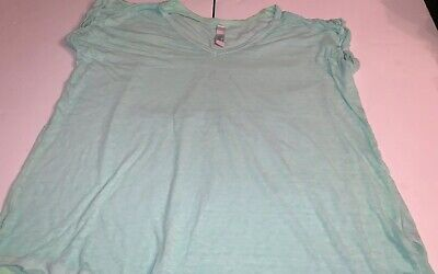 FP Beach Free People Keep Me Burnout T Shirt Sz S Turquoise V Neck Aqua Burnout T-shirt