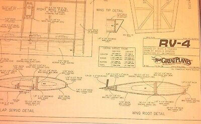 * Great Planes * RV-4 ** MODEL AIRPLANE Rolled Plans 54 5/8
