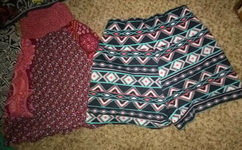 Tribal Shorts, Prarie Style Skirt, Vintage Dress, Comfy Pants, Woman Small