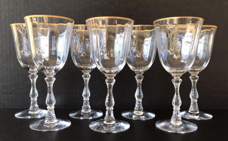 Vintage Fostoria Wilma Claret Wine Glasses Stem 6016 Gold Rim Elegant Glass (7)