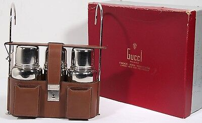 VINTAGE GUCCI SILVER PLATED TRAVEL PICNIC SET THERMOS FLASK CUPS LEATHER CASE
