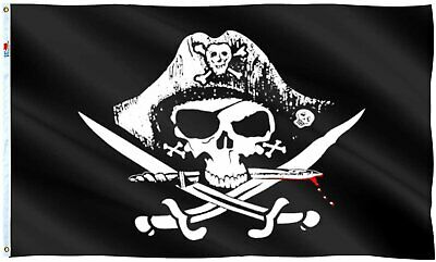DMSE 3'X5′ Foot Dead Man's Chest Pirate Jolly Roger Crossed Sword Polyester Flag Décor
