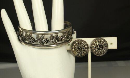1900s PERUZZI FLORENCE Cuff Bracelet & Earrings SIGNED 800 Silver ROSE Motif FAB