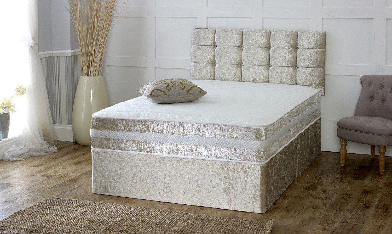 Crushed velvet divan bed memory mattress headboard 3ft for 3ft divan bed