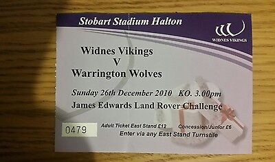 Widnes Vikings v Warrington Wolves  Used Ticket 2010