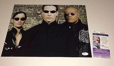 Matrix Cast X2 Keanu Reeves   Laurence Fishburne Signed 11X14 Proof Jsa Coa