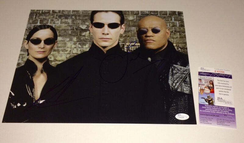 Matrix Cast X2 Keanu Reeves + Laurence Fishburne Signed 11X14 PROOF JSA COA