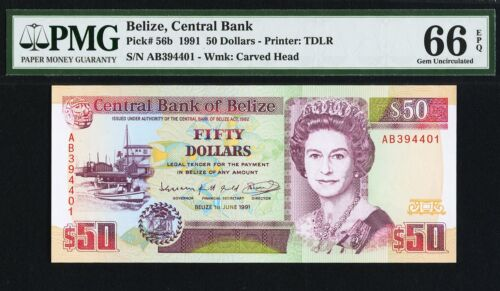 Belize 50 Dollars 1991 QEII Pick-56b GEM UNC PMG 66 EPQ