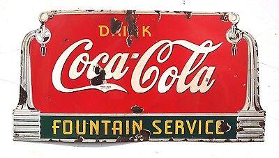 Vintage 1930S Coca Cola Fountain Service Soda Pop Porcelain Metal Sign 27  Long