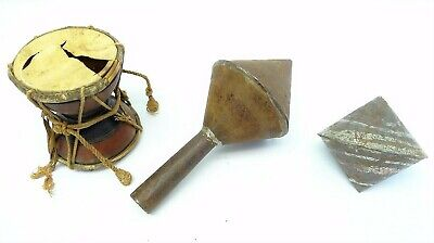 Mixed Antique Lot Percussion Metal Hand Crafted Rattles Broken Small Bongo Drum