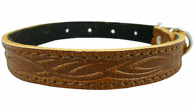 Tooled Genuine Leather Dog Collar. Fits 11-15 Neck, For Small Medium Breeds