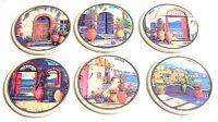 Set 6 Sottobicchieri Grecia In Ceramica Smaltata Decorata Con Paesaggi Greci -  - ebay.it