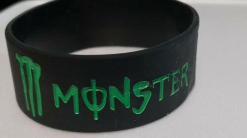 """1x MONSTER Black/Green Silicone Bracelet 1"""" Wide - U S Seller"""