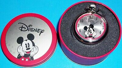 NIB 2007 DISNEY MICKEY MOUSE POCKET WATCH NEW IN TIN SILVER TONE EMBOSSED MICKEY
