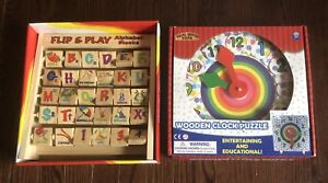 New In Box Wooden Clock Puzzle & Alphabet Flip & Play Blocks