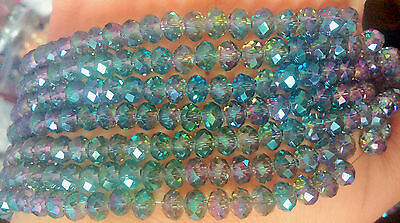 100 pcs RONDELLE FACETED GLASS CRYSTAL BEADS 6mm  Jewellery Making GREEN PLATED