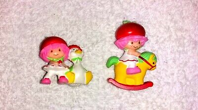 2 Vintage Strawberry Shortcake Minis Cherry Cuddler Rocking Horse & Gooseberry Strawberry Shortcake Horses