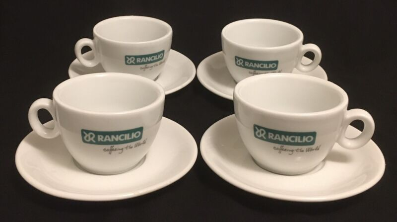 8 Pc Rancilio Espresso Coffee Cups Saucers Green Logo Ipa Italy Holds Heat Nice