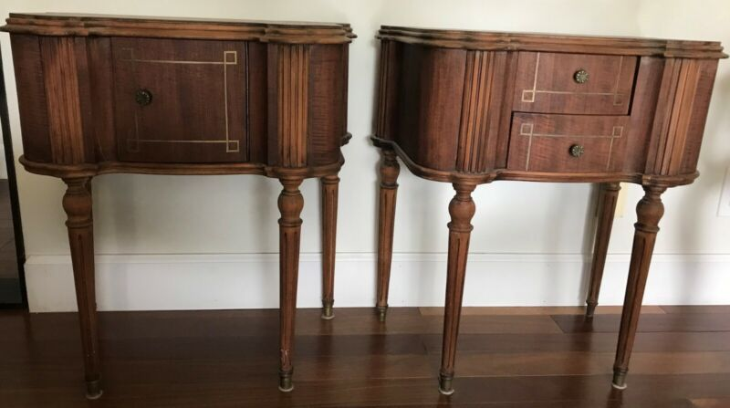 Antique nightstand pair, solid wood with brass inlay