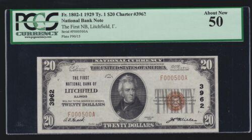US $20 1929 National Currency Litchfield, Il Chtr 3962 FR 1802-1 PCGS 50 AU(500)