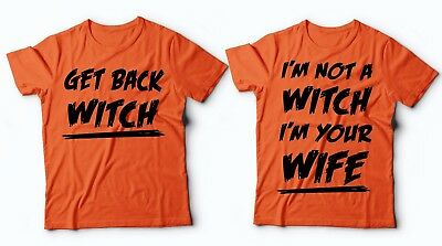 Funny Costumes For Halloween (Orange Halloween Couple Shirts Witch Wife Funny Costume T-shirt for Halloween)