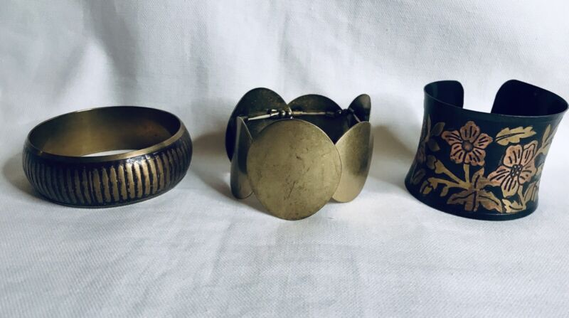 Set of 3 Vintage Bracelets Clamp Bangle Stretch Boho Brass Floral Tri-Tone Mix