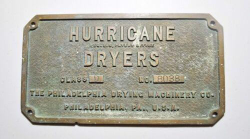 "Vintage Hurricane Drying Machinery Philadelphia PA. Bronze Plaque 11""X6""X1/4"""