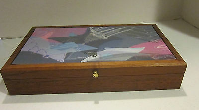 Vint Eglomise Designs solid walnut desk box - 1 of a kind painting -mirror - VGC